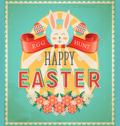 happy easter egg hunt vintage grunge greeting card vector image