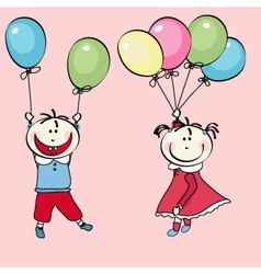 happy little boy girl flying with the balloons vector image