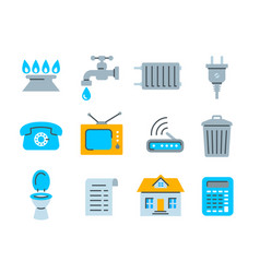Household services utility payment bill flat icons vector