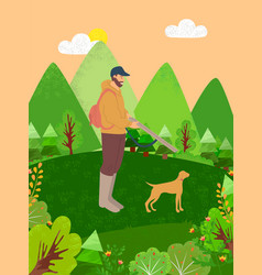 hunter with dog hobman with pet on nature vector image
