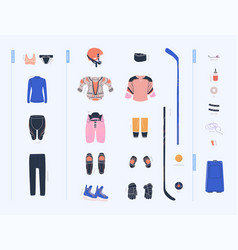 Ice hockey female equipment list vector