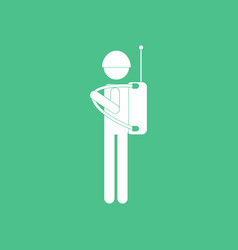Icon soldier holding walkie talkie vector