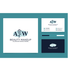 Initial aw feminine logo collections and business vector
