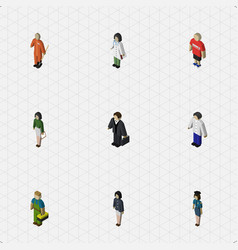 Isometric people set of male girl doctor and vector