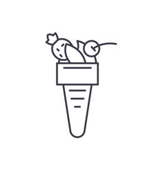italian ice cream line icon concept italian ice vector image