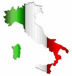 Italy map with flag inside vector