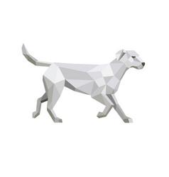 Labrador walking low polygon vector
