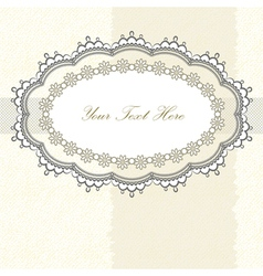Lace frame on textured background vector image