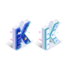 letters k with social networks elements vector image
