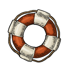 Lifebuoy with rope isolated on white background vector