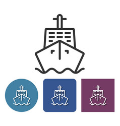 Line icon of ship in different variants vector