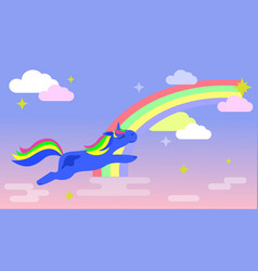 magic unicorn flies across the sky with a rainbow vector image