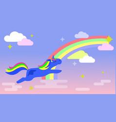magic unicorn flies across the sky with a rainbow vector image