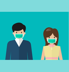 Man and woman wearing medical masks vector