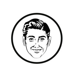 Man comic style black and white vector