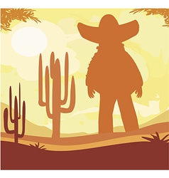 Man in a sombrero and cactus plants in desert vector