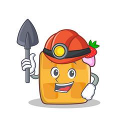 Miner waffle character cartoon design vector