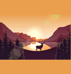 mountain landscape with deer and lake at sunset vector image