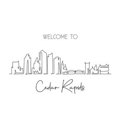 one continuous line drawing cedar rapids city vector image