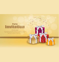 Party invitation card with gifts celebrate vector