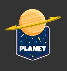 planet saturn design black background image vector image