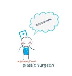 plastic surgeon surgeon thinks of a scalpel vector image