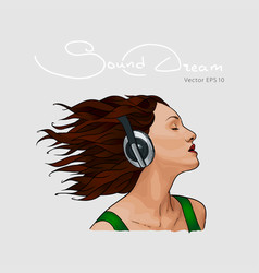 portrait of a girl with headphones sketch vector image