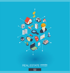 real estate integrated 3d web icons digital vector image