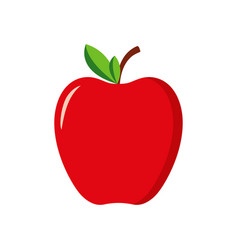 red apple with green leaf icon fruit apple vector image