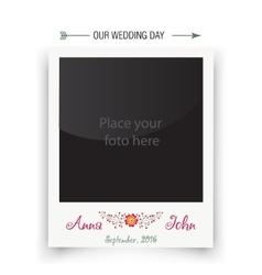 Retro wedding photo frame polaroid template vector