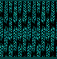seamless pattern braided braids green color vector image
