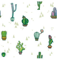 seamless pattern with cute cactuses vector image