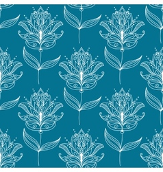 Seamless pattern with paisley floral motifs vector image