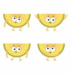 set cartoon melons vector image