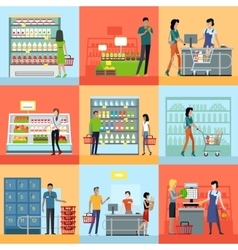 Set of Shopping in Supermarket Concepts vector