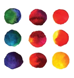 Set of watercolor hand painted gradient circles vector image