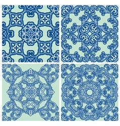 set ornament blue 380 vector image