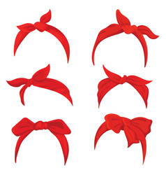 Set retro headband for woman collection red vector
