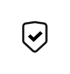 shield icon isolated flat line outline vector image