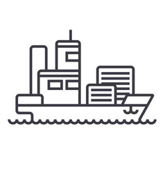 ship cargo container line icon sig vector image