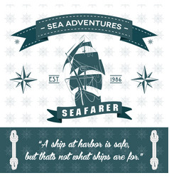 Ship themed rope detailed sea adventures vector