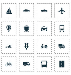 Shipment icons set collection of skooter van vector