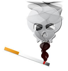 smoke from firing cigarette with human skull vector image