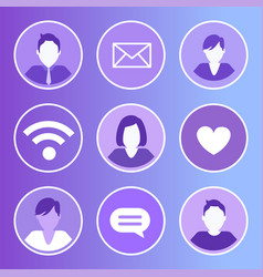 social network message icons vector image