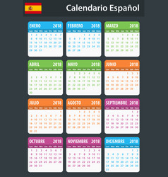 spanish calendar for 2018 scheduler agenda or vector