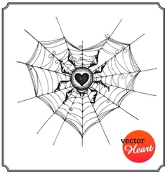Spider and web in form of heart vector image