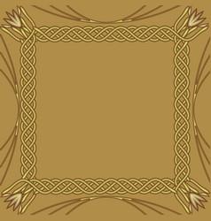 square golden frame on golden background vector image