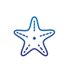 Starfish animal marine life thick line blue vector