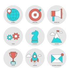 Start up outline icons flat vector