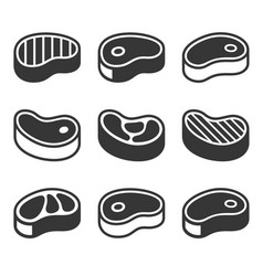 Steak icons set vector